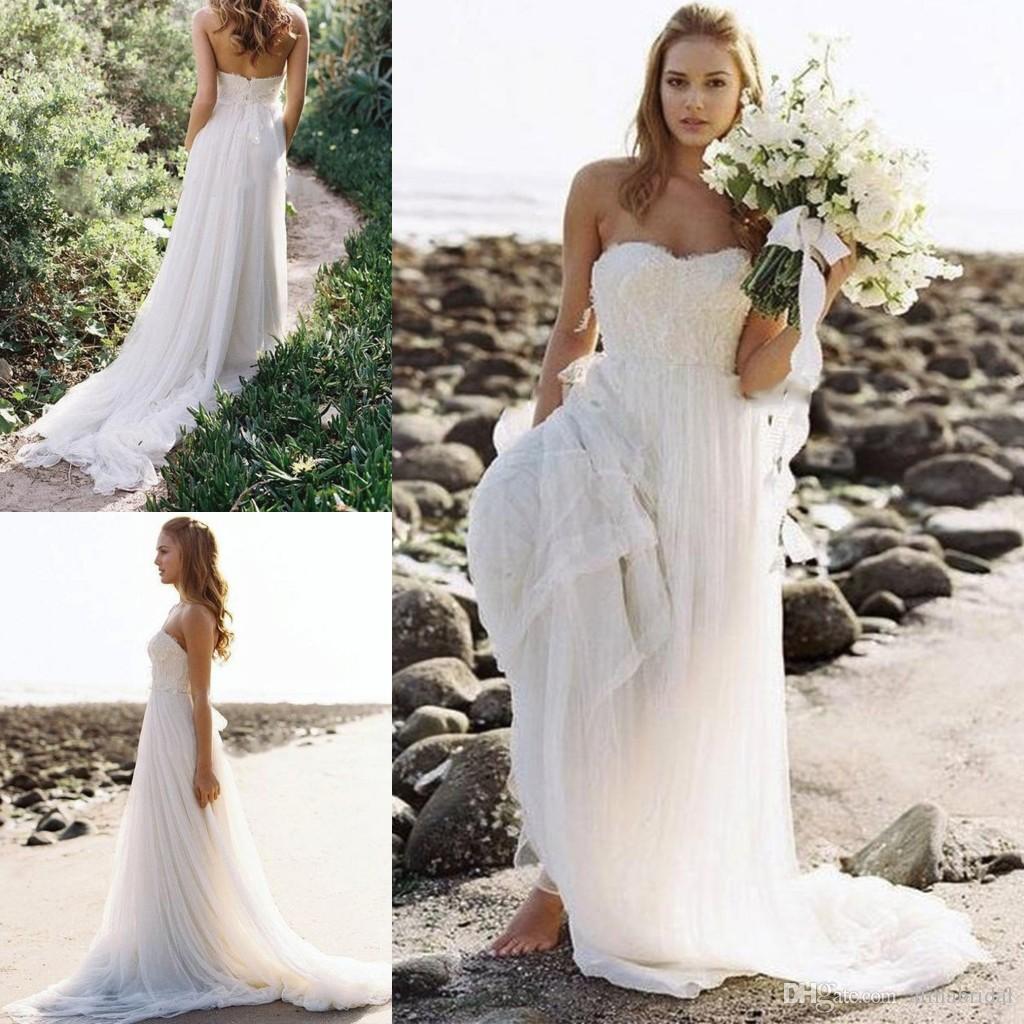 2016 Boho Beach Bröllopsklänningar En linje Vestidos de Novia Sweetheart Custom Made Följande Tulle Lace Sommar Brudklänningar