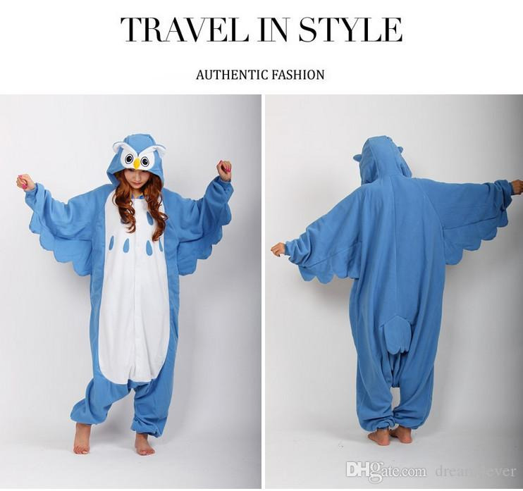 SS New Adult Unisex Animal Lovely Night Owl jumpsuit Pajamas Sleepsuit Onesie Party Sleepwear