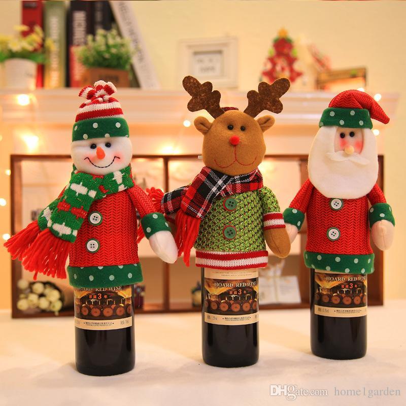 Noël Décoration Fournitures Ensembles de bouteilles de Noël Bouteille de vin Couverture de Noël vin Couverture