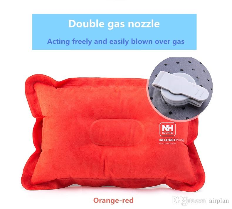 Outdoor inflatable pillow for outdoor adventure travel office and home with fast convenient and comfortable pillow compressible