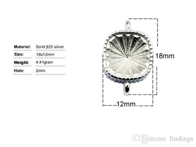 925 sterling silver connector cabochon settings for jewelry making square fit 10x10x5mm Austria crystal 4470, fit 10x10x5mm square, hole: 2m