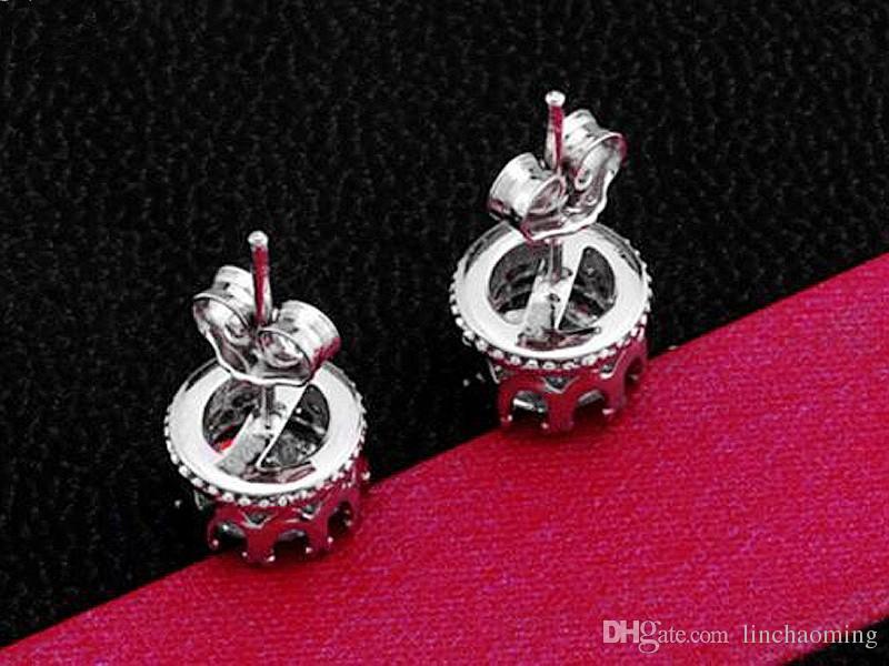 HYWo diseño de lujo 925 plata esterlina Clear CZ diamante noble Crown stud pendientes regalo de la joyería de moda envío gratis