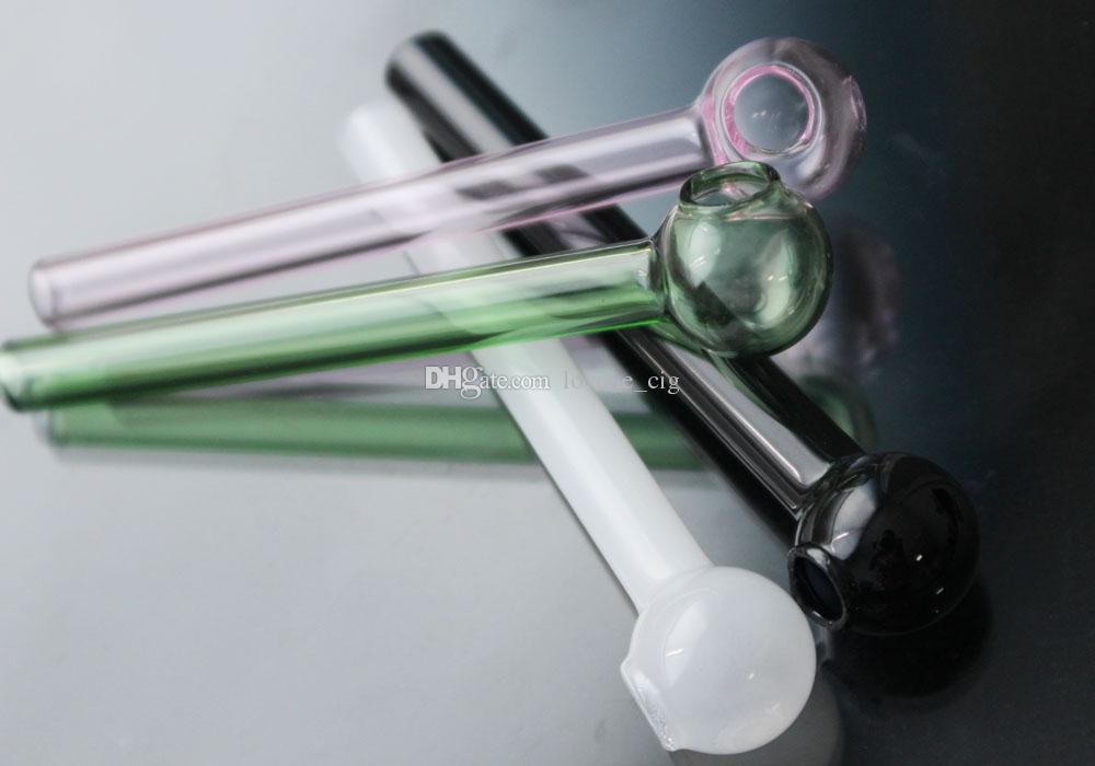 Coloré super verre Oil Pipe Brûleur À propos de 10cm Longueur Mixte tube en verre Tube couleur huile Pipes ongles fumeurs