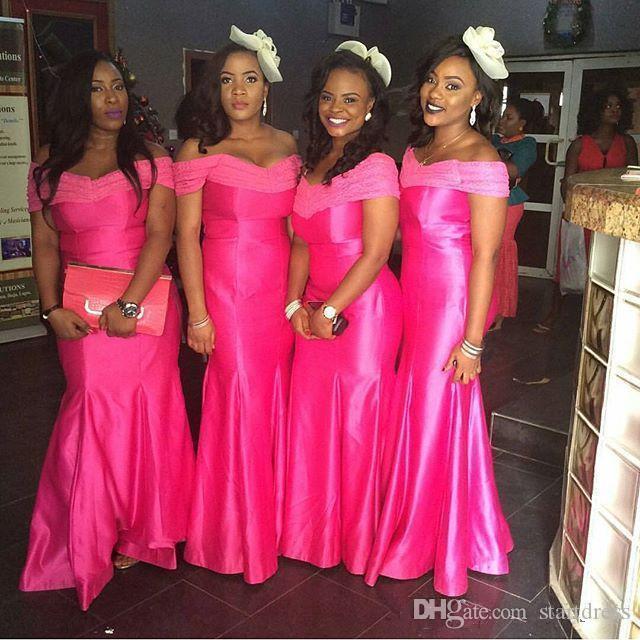 유행 아프리카 떨어져 어깨에 새틴 인어 신부 들러리 드레스 긴 결혼식 파티 이브닝 가운 레이스 공식 행사 저녁 착용