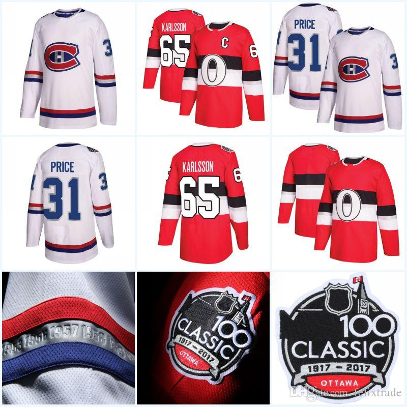 buy online d0873 ef2b9 2017 New Season 100 Classic Authentic Player Jersey Montreal Canadiens 31  Carey Price Ottawa Senators 65 Erik Karlsson Hockey Jerseys