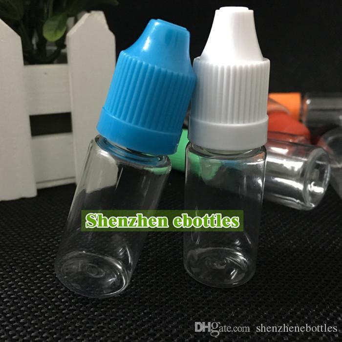 bouteilles en plastique de prix usine 10ml bouteille vide en plastique PET Bouteille avec Dropper Caps long et mince Conseils gros sécurité enfants bouteille de Dropper
