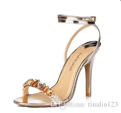 hot sale plus size 35-43 women gladiator rhinestone high heels sandals elegant sexy ladies party wedding shoes brand gold/silver sandalias