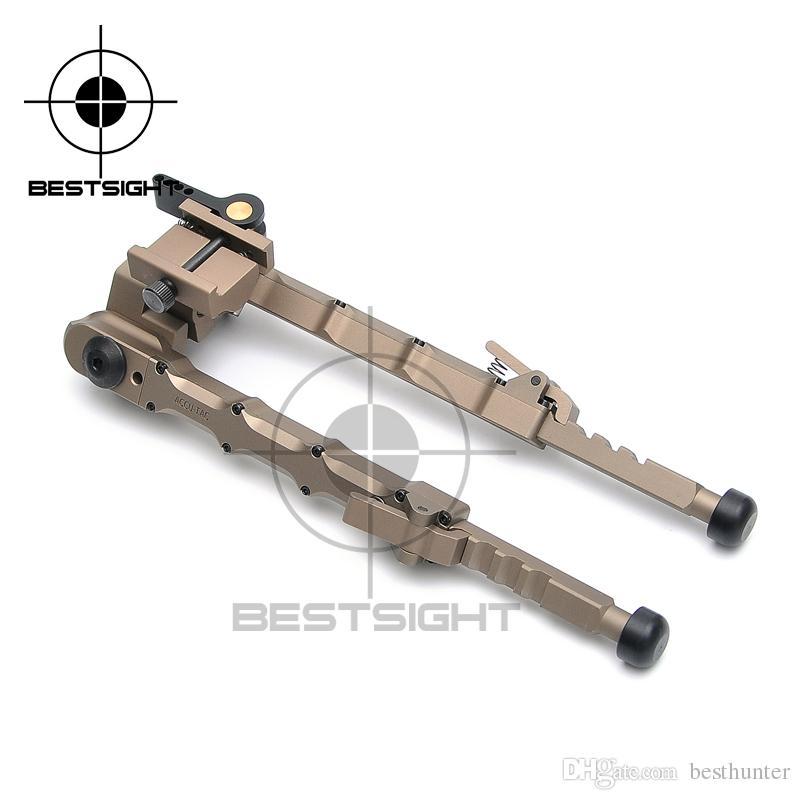 Bestsight Tactical Jagdgewehr Zweibein BR-4 Bolt Aktion Schnell zu lösen Zweibein passgenau 20mm Picatinny Schiene für Zielfernrohr Schwarz Tan