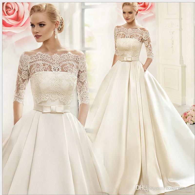 Vestido De Noiva 2018 Princess Wedding Dress Ball Gown Off: 2019 Princess Ball Gown Satin Wedding Dress With Lace Wrap