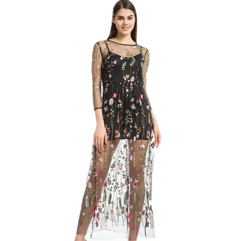 426dc5952dcf7 Wholesale- Lining+Dress Newest Fashion Mesh Flower Floral Embroidery Runway  Maxi Women Black Bohemia Beach Perspective Long Dress 4016