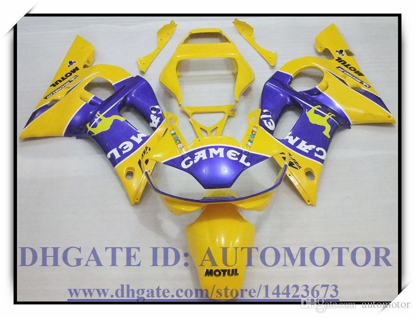 Kit de carénage flambant neuf 100% compatible avec YAMAHA YZF R6 1998-2002 YZFR6 1998-2002 1999 2000 2001 YZF R6 98-02 # GS773 BLEU JAUNE