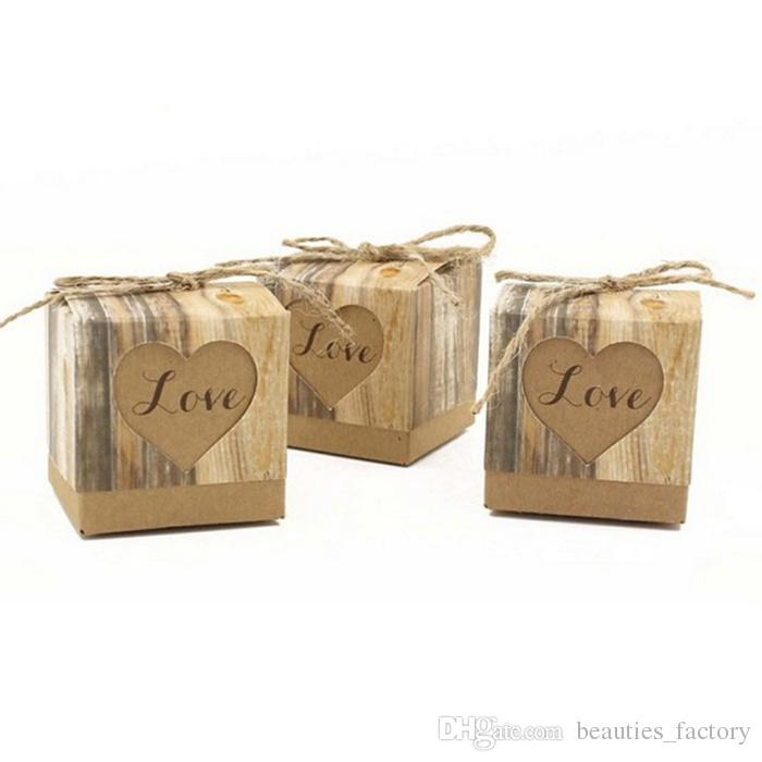 Heart Love Rustic Sweet Candy Boxes Kraft Paper Wedding Party Favour Gift Box Party Supply
