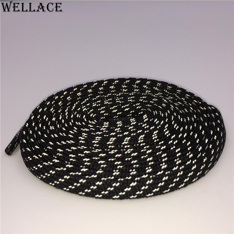 웰빙 3M 평면 끈 다채로운 부츠 플랫 블랙 슈 끈 크로스 곡물 반사 신발 끈 맞춤 로고 Sholaces 판매 120cm