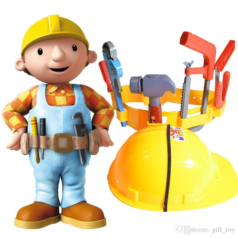 Civil Protection Toys : Artificial bob plastic kids engineer tools belt cap