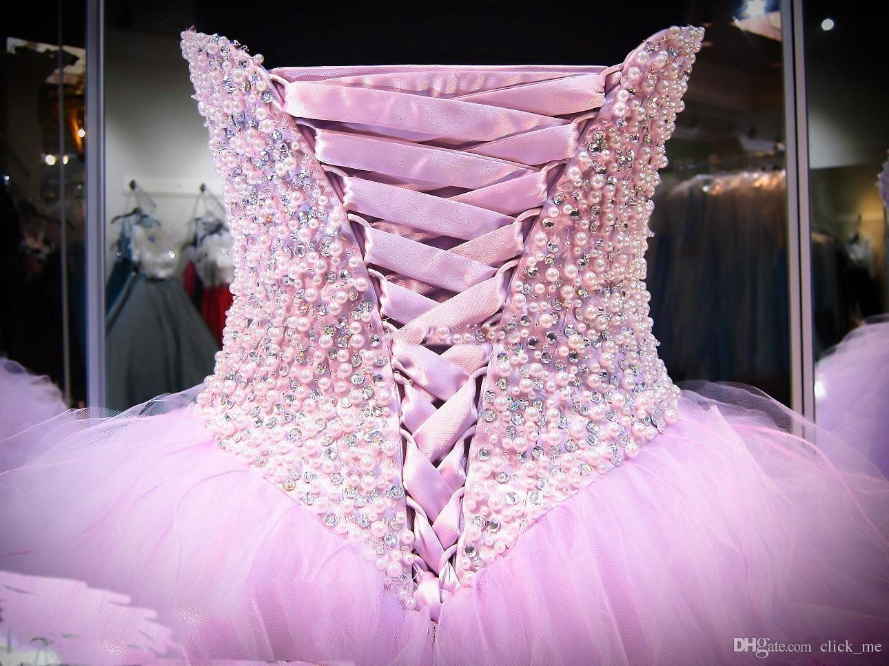 Платья лаванды Quinceanera бальное платье корсет кристаллы жемчуг оборки тюль зашнуровать назад театрализованное платье для девочек милая выпускного платья