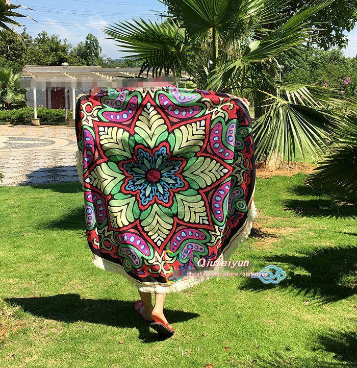 Round Tassel Bikini Cover Ups Beach Towel Bikini Cover Bohemian Beachwear Beach Sarongs Shawl Bath Towel Yoga Mat T398