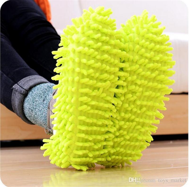 Staub-Reiniger, der Pantoffel-Haus-Badezimmer-Boden-Reinigungs-Mopp-Stoff-saubere Pantoffel-Mikrofaser-faule Schuh-Abdeckung bedecken lässt