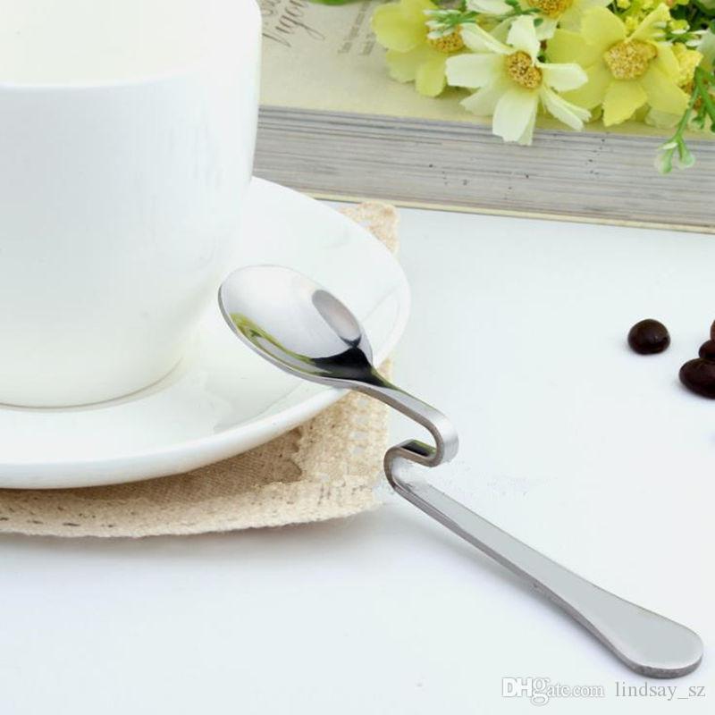 Nowy Styl Bent łyżka kreatywna prosta wisząca łyżka ze stali nierdzewnej Desery kawowe mieszanie łyżki kawa narzędzia herbaty szybka wysyłka