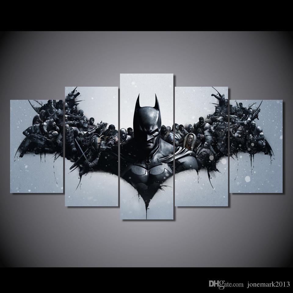 Satın Al 5 Panel Hd Baskılı Film Karakterleri Batman Boyama Tuval
