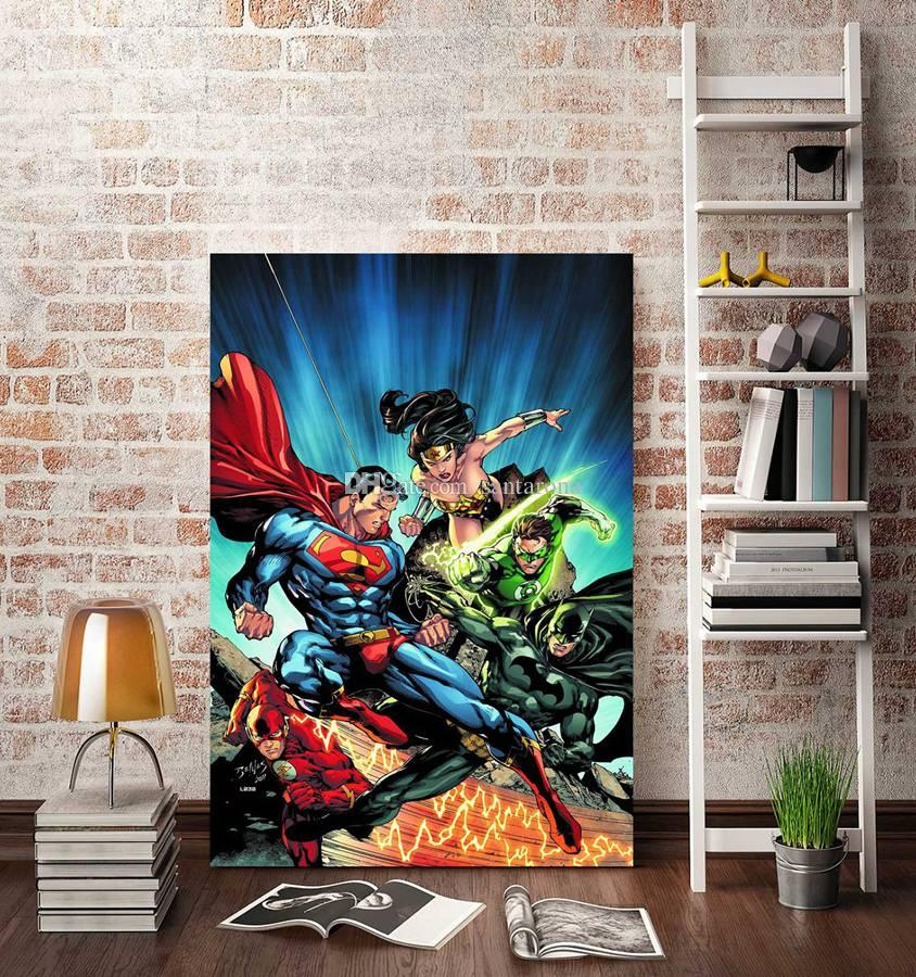 2018 No Frame Justice League Four Hd Canvas Print Wall Art Oil ...