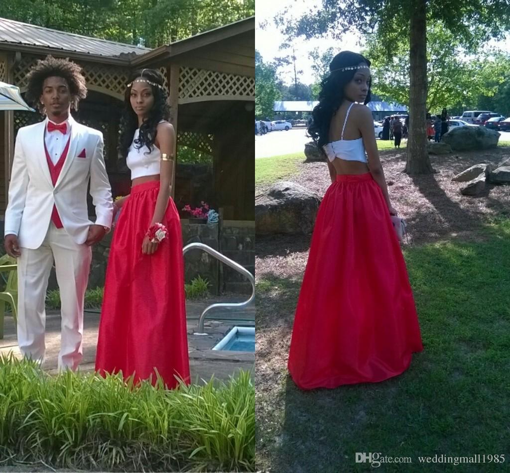 2016 Yeni Yüksek Boyunlu Kırmızı + Beyaz Gelinlik Modelleri Uzun Bölüm Iki Parçalı Sling Mezuniyet Elbise Seksi Halter Örgün Akşam elbise Artı Boyutu