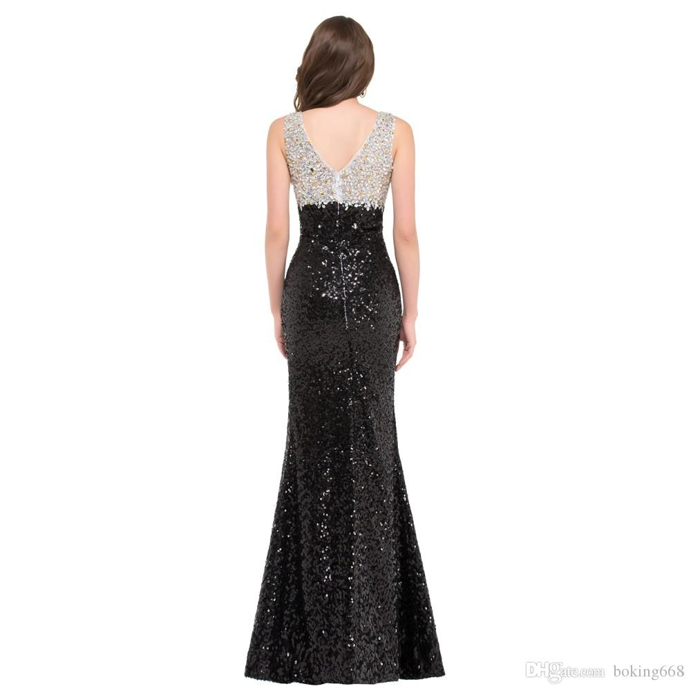 2019 Newest Luxury Glitter Sequins Mermaid Prom Dresses Black White Evening Dress Formal Engagement Party Gown Long Prom Dress Custom Made