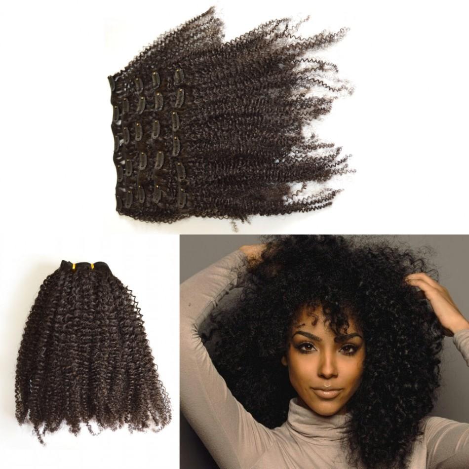 Human Hair Clip In Hair Extension Brazilian Virgin Kinky Curly Human