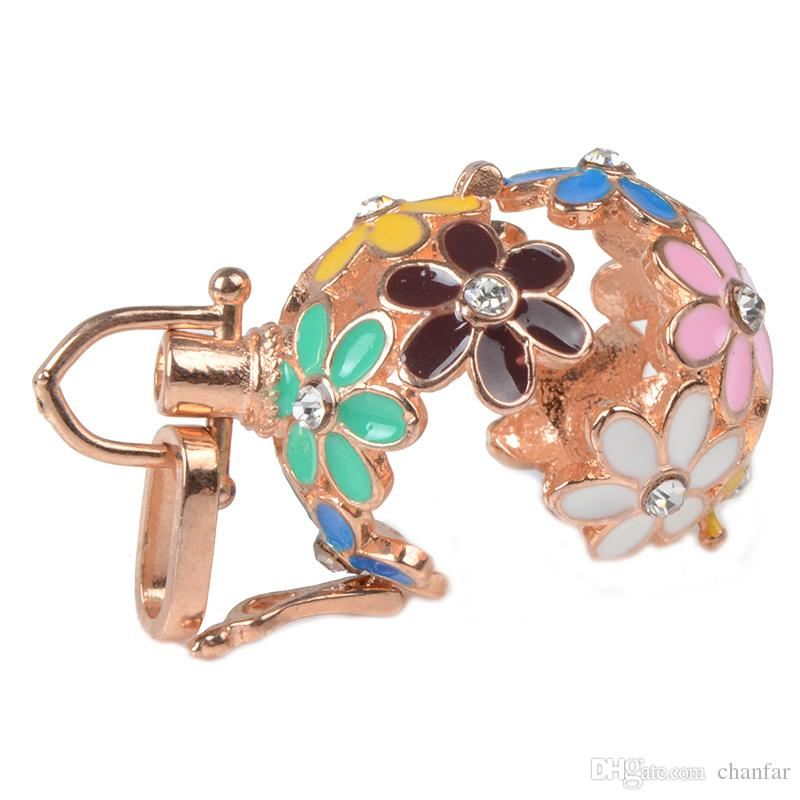 Rose gold plated Round Angel ball baby locket cage pendant long pregnancy bell necklace chime ball necklace for mother