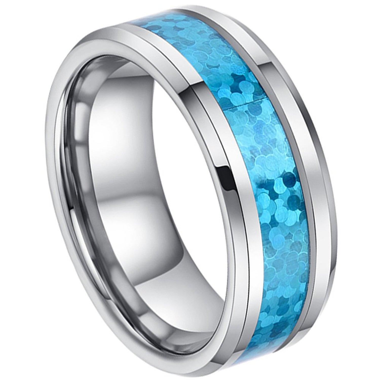 8mm Man La s Tungsten Carbide Beveled Edge Hawaiian Blue Opal