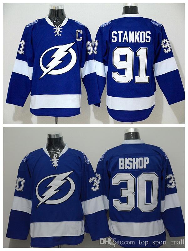 2018 wholesale cheap tampa bay lightning jersey 2016 blue color 91 steven stamkos ice hockey jerseys