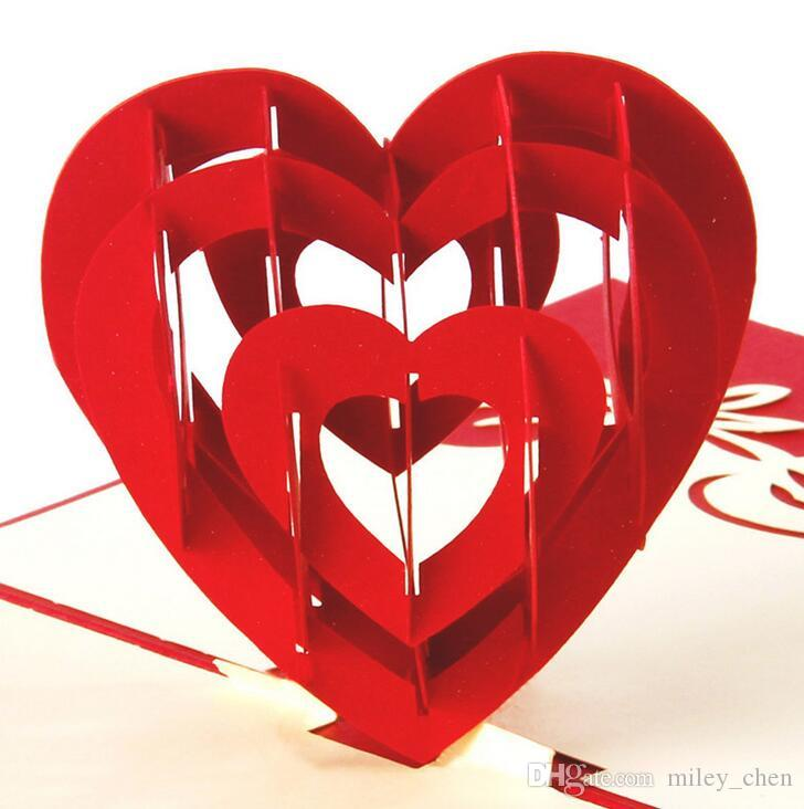Valentines Day Theme Handmade Birthday Greetings Cards Kirigami 3D Heart Pop Up For Lovers Free Ship