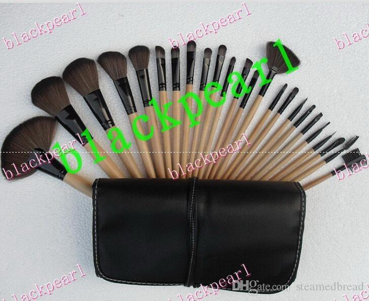 2016 NEW good quality Lowest Best-Selling good sale makeup brushes set Leather bag