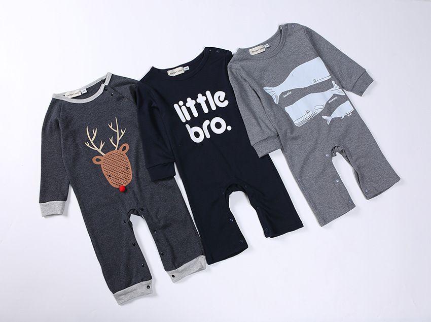 48843822a 2019 Little Bro Deer Shark Newborn Baby Rompers Baby Clothing Set ...