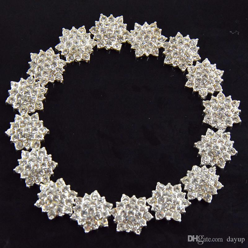 Atacado-/ Flat Back Crystal Rhinestone botão para cabelo flor convite de casamento, strass Applique acessórios frete grátis