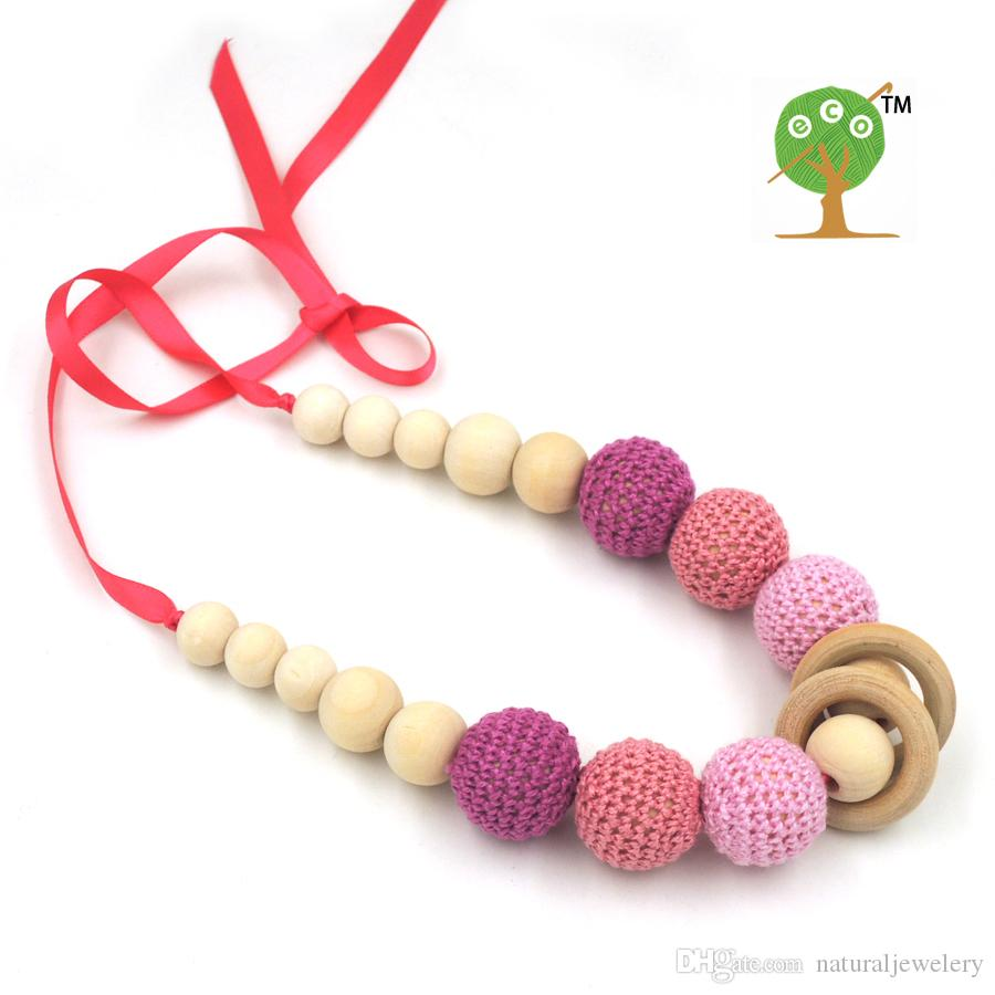 2016 PEACH pink MELON RED crochet teething necklace,wood beads baby toy baby teether necklace EN24