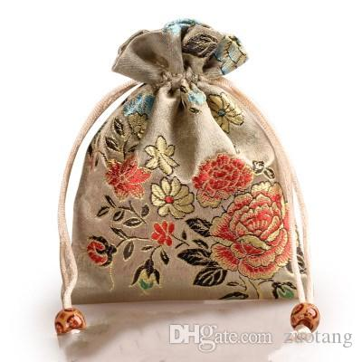 Peony Flower Thick Small Cloth Bag Drawstring Silk brocade Gift Packaging Pouch Jewelry Makeup Perfume Coin Trinket Storage Pocket /lo