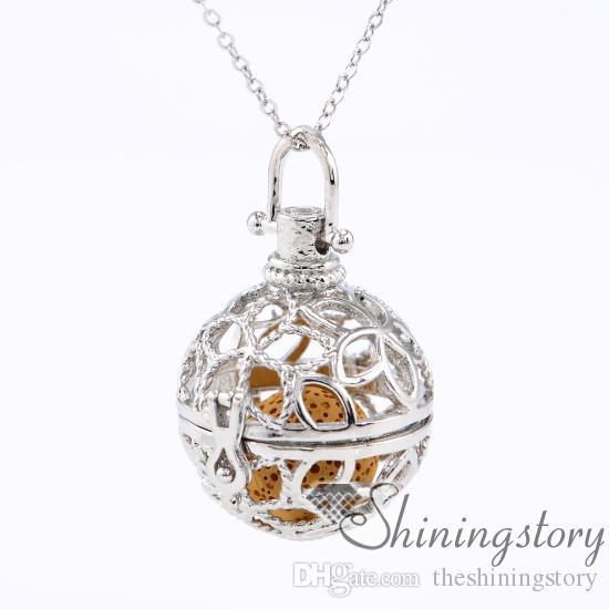мяч цветок диффузор ожерелье ароматерапия ювелирные изделия Оптовая ароматерапия диффузор ожерелье ожерелье масло диффузор металл вулканический камень