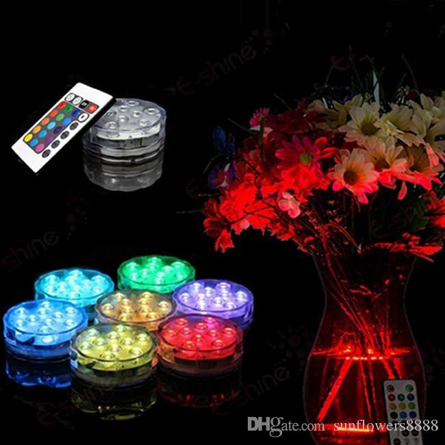 3AAA IR Télécommandé Contrôlé 10 Multicolores SMD LED Vase Lumière, Lumière Led Submersible, Imperméable Lumière Floralyte