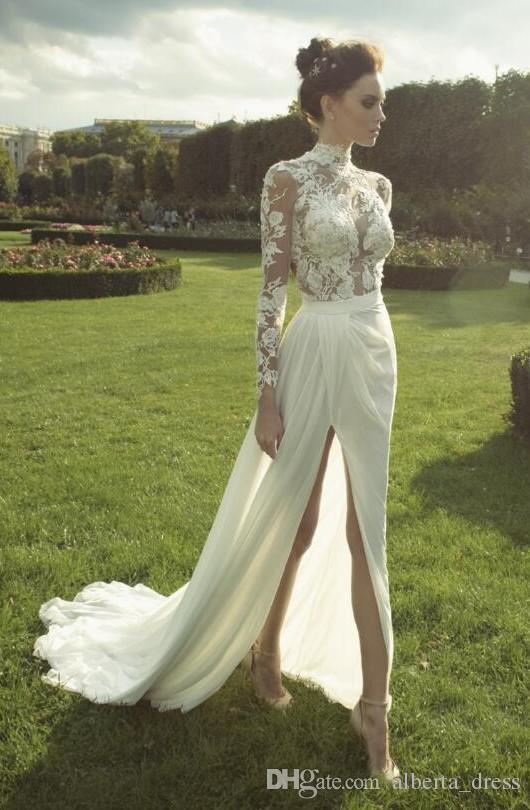 보헤미아 레이스 에스테르 2019 아랍어 비치 웨딩 드레스 높은 목 긴 소매 백리스 씨앗 웨딩 드레스 시폰 섹시한 신부 드레스