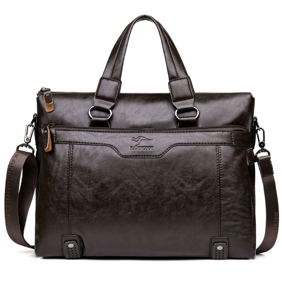 903c1ad36c4 Wholesale Brand Kangaroo Men Casual Briefcase Business Shoulder Leather Messenger  Bags Computer Laptop Handbag Men'S Travel Bags Discount Designer Handbags  ...