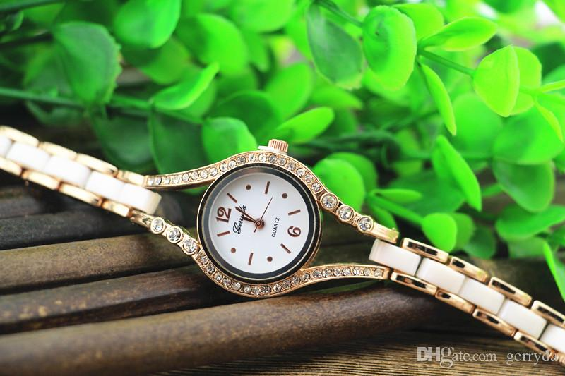 !gold plate alloy case with crystal deco,copy ceramic band,quartz movement,gerryda fashion woman lady bracelet ceramic watches