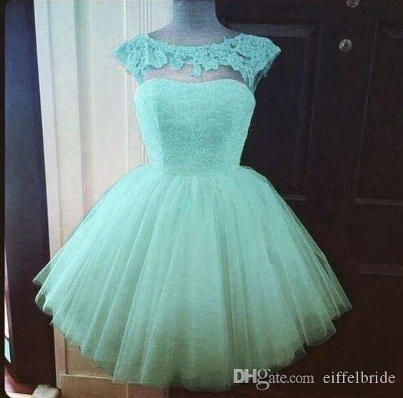 2016 Cheap Custom Made Short Prom Dresses Sexy Sheer Lace Applique Jewel Neck Cap Sleeve Elegant Mint Green A-Line Tulle Evening Party Gowns