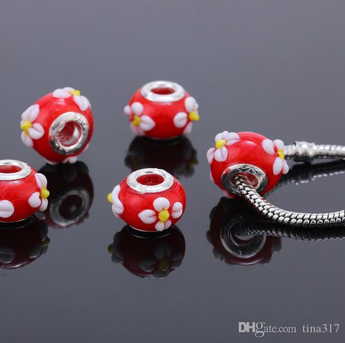 DIY chamilia beads macroporous beads Handmade Oblate Glass Loose Necklace Beads handwork for bracelets necklace chain jewelry 2528