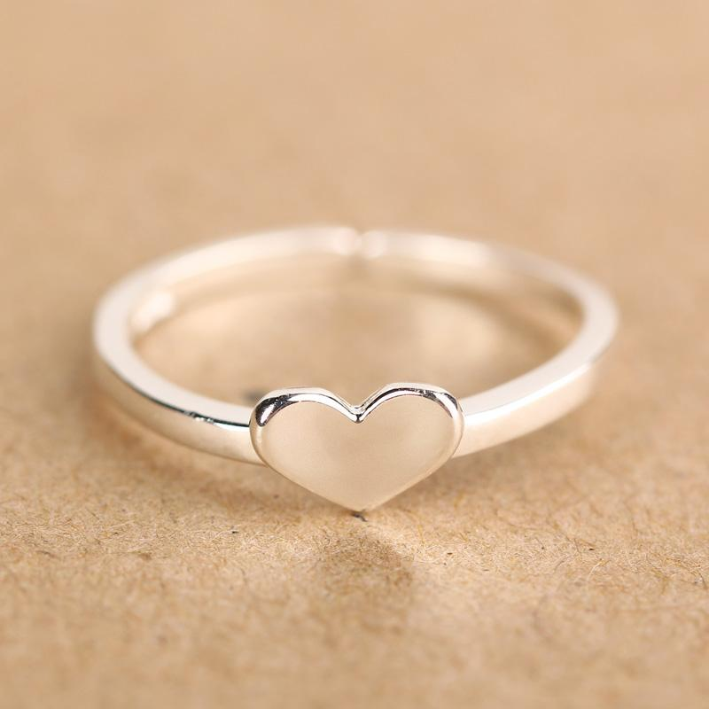 Moq 925 Silver Finger Rings With Heart Shape Heart Shaped Ring