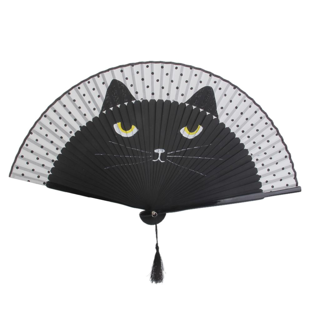 Wholesale Japanese Silk Hand Fan Painted Cartoon Cat Folding Fan ...