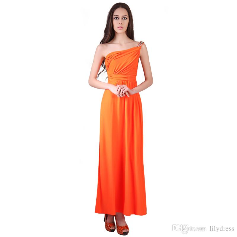 Long Bridesmaid Dresses 2017 New One Shoulder Color Orange Womens ...