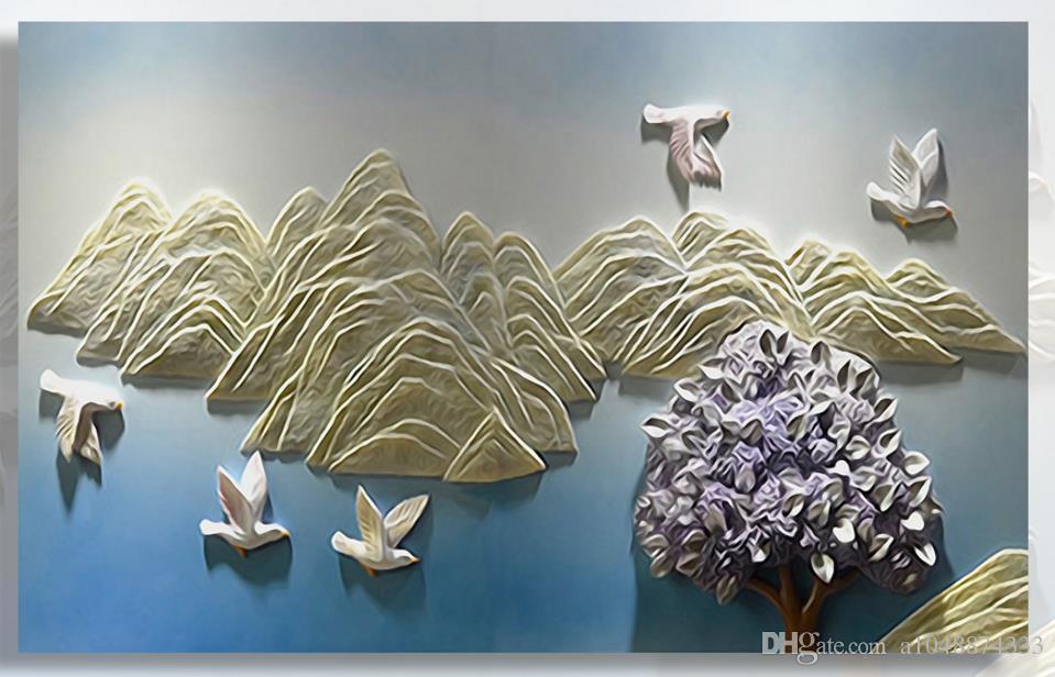 Personalizzato moderno minimalista foto murales che raffigura Paesaggio sollievo pittura murale arte della parete decorazione astratta parete camera da letto peper