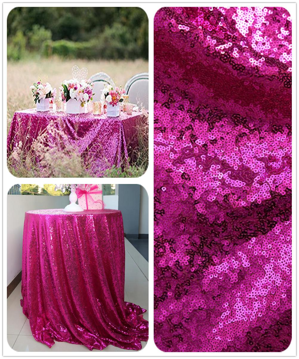2017 Buy From China 108 Round Fuchsia Sequin Table Linens For