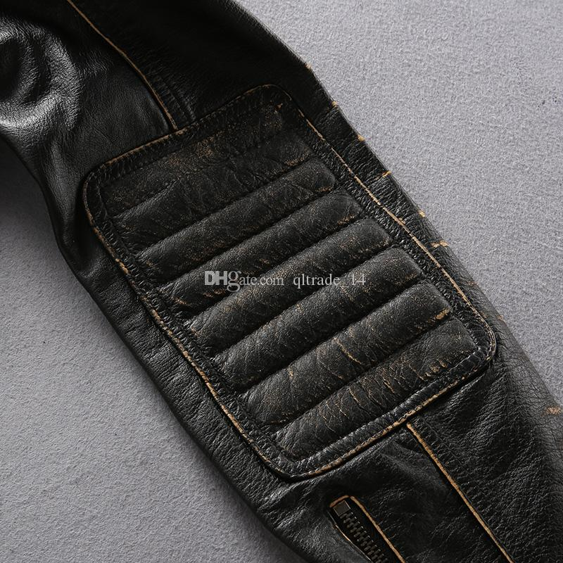Stand collar Retro vintage AVIREXFLY genuine leather motorcycle men jackets stripe cow leather