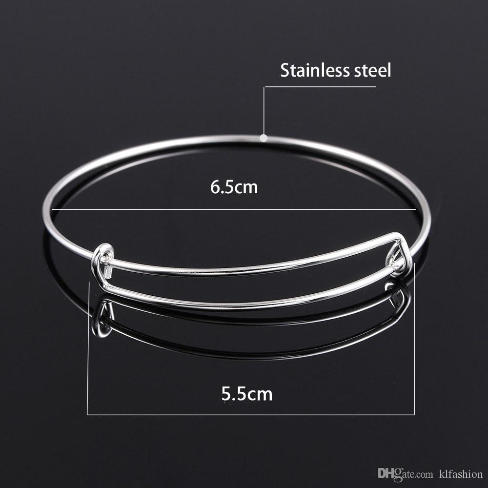 Calidad garantizada 2018 Nueva pulsera de brazalete de alambre expansible de acero inoxidable para joyería de las mujeres DIY abalorios o encantos gran stock envío rápido